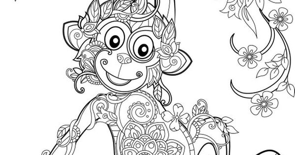 Monkey | Coloriage & Mandala | Pinterest | Monkey, Adult ...