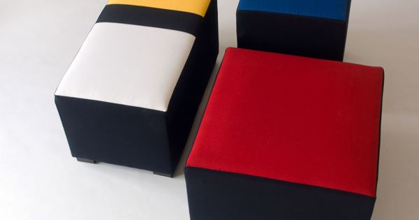 trio de poufs multicolore mondrian meubles et rangements par cecile mairet mondrian design. Black Bedroom Furniture Sets. Home Design Ideas