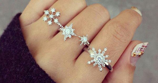 jewels snowflake ring frozen nail polish diamonds ring cute snow rings silver