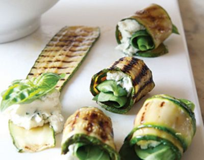 Grilled Zucchini Roll-Ups With Herbs and Cheese >> Think I might make