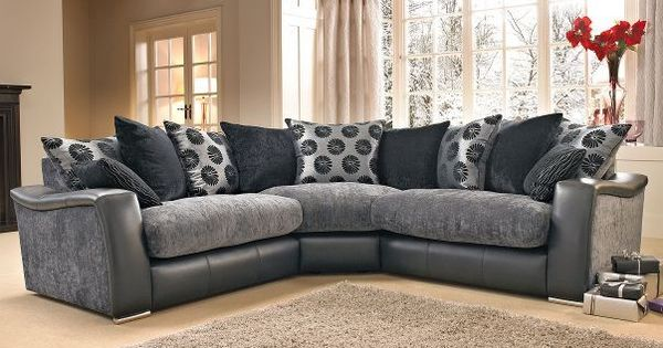 Lowri Corner Sofa Like Dfs Black Grey Gray Big Houses And Living Rooms