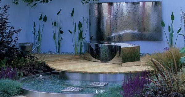 Fuente de agua moderna para jardin peque o fuentes - Fuentes para jardines pequenos ...