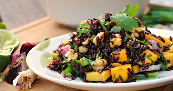 Peanut and black rice salad with mango,black rice salad with mango and ...