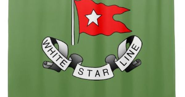 Rms Titanic White Star Line Red Flag Star Logo Shower Curtain