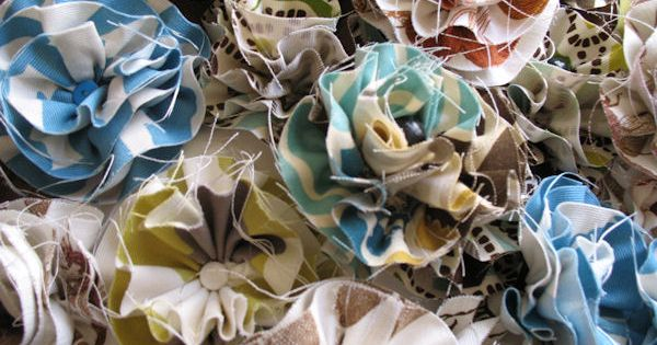 beautiful fabric flowers to put on a stick and place in a