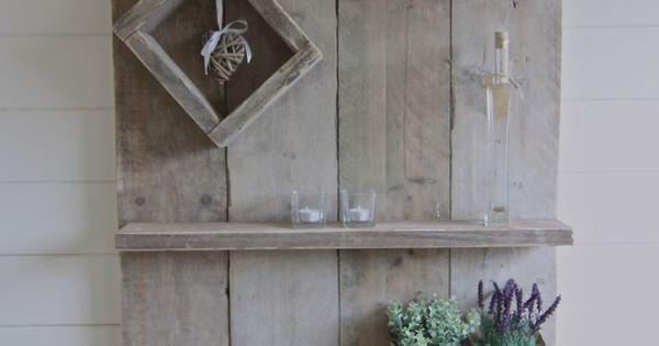 Wandbord van gebruikt steigerhout steigerhout creatief met hout pinterest - Decoratie schilderij gang ...