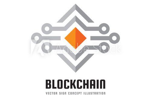 Blockchain Technology Vector Logo Template Concept Illustration Abstract Geometric Business Sign Digital C Vector Logo Web Development Design Creative Icon