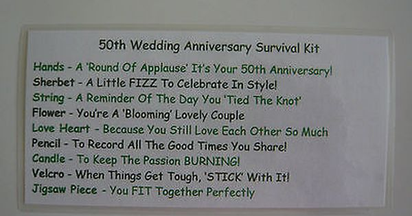 50th Golden Wedding Anniversary Survival Kit Novelty Gift Idea Fun Present