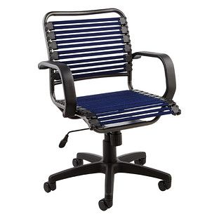 Navy Flat Bungee Office Chair With Arms Fixed Arm Rests And