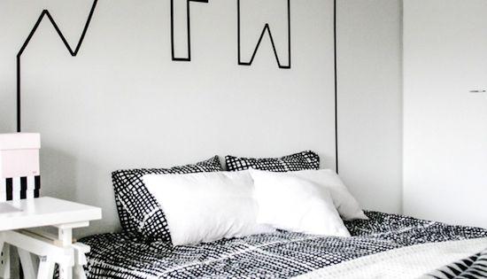 d corer ses murs avec du masking tape les petits ateliers de pouce et lina t te de lit. Black Bedroom Furniture Sets. Home Design Ideas