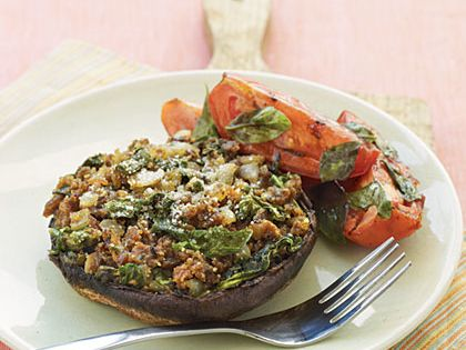 Portobello Mushrooms With Parmesan-Herb Stuffing Recipe — Dishmaps