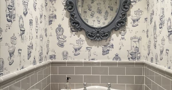 Our downstairs toilet fun wallpaper from graham brown for Home wallpaper fired earth