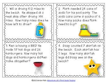 Fun In The Sun Math Task Cards Common Core Freebie Math Tasks Math Task Cards Math School