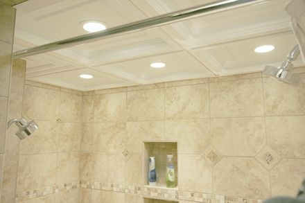 Suspended drop drop ceiling tile shower installation for Fall ceiling designs for bathroom