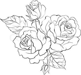 Red Rose In Cartoon Style For Tattoo Design Vector Illustration Vector Colourbox Rose Line Art Roses Drawing Flower Drawing