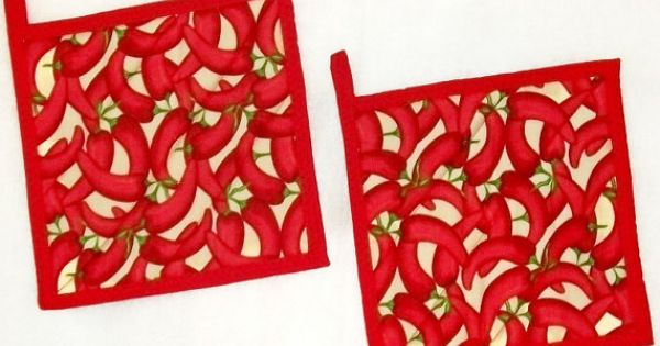 Pot Holders Chili Peppers Red Hot Quilted For Your Kitchen