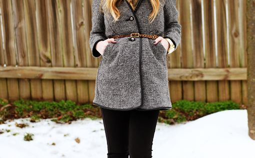 LOVE the hat. LOVE the belt with the coat. Classic winter look.