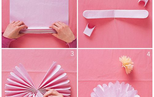 fluffy tissue paper flowers DIY party idea decorations