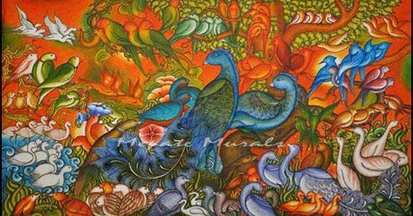100 birds aneeshmepate keralamurals mepatemurals for Asha mural painting guruvayur