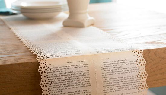 vintage book table runner wedding DIY: interesting idea.