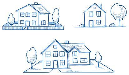 Vektor Set Of Three Different Houses Detached Single Family Houses With Gardens Hand Drawn Cartoon Vector Illustrati Vektorgrafik Kinderbucher Illustration