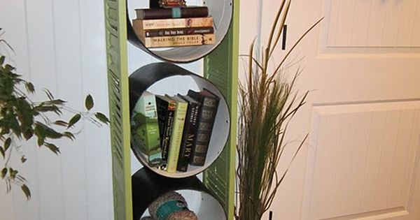 DIY Bookcase Made Of Concrete Forms And Old Shutters by stefanie