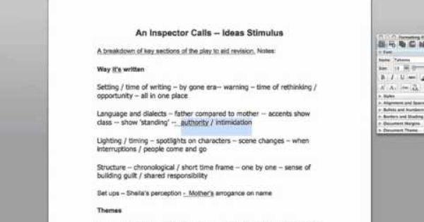 an inspector calls essay notes