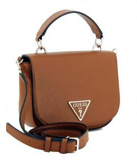 Guess Carys Mini Top Handle Überschlagtasche braun Cognac in