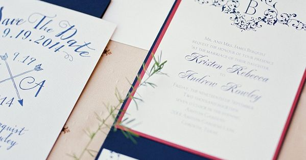 Red White And Blue Wedding Invitations: Navy And Red Wedding Invitations