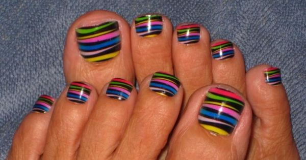 Multi Coloured Stripes Toe Nail Design on 30 Amazing Cute Toe Nail
