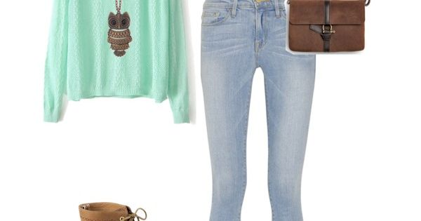 Cute teen fashion fall outfit sweater mint green jeans denim boots purse