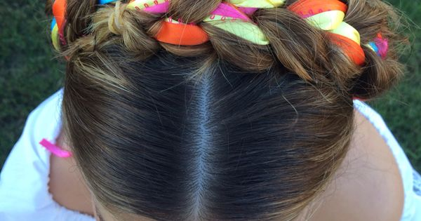 Crown Braid With Ribbons Mexican Colors Braids Blonde
