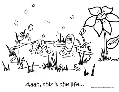 Worm Bath Coloring Page Coloring Pages Coloring For Kids