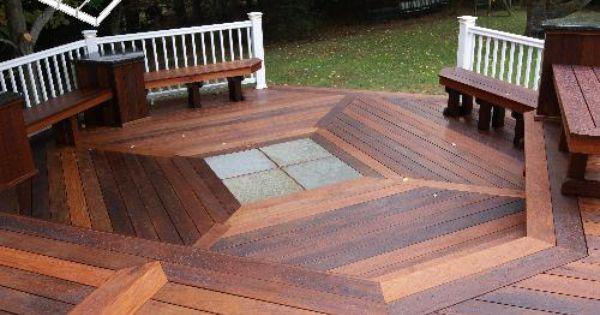 Ipe Deck With Blue Stone Inlay Nj Deck Builder Deck Remodelers Com Diy Deck Building A Deck Deck