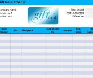 Gift Card Tracking Sheet Templates Gift Certificates Gift Card