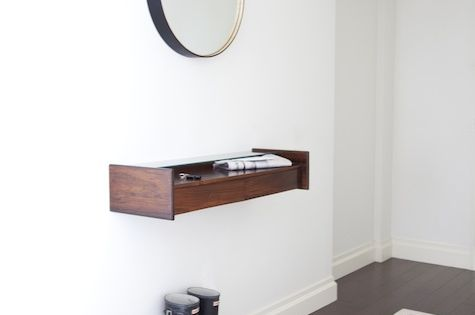 Personal weakness for floating shelves, round mirrors and gumboots.