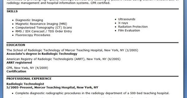 sample resume for radiographer