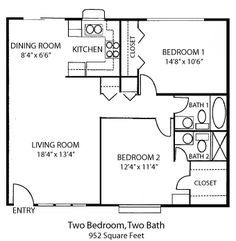 Tiny House Single Floor Plans 2 Bedrooms Bedroom House Plans Two Bedroom Homes Appeal To People In A Variety Small House Plans House Floor Plans House Plans