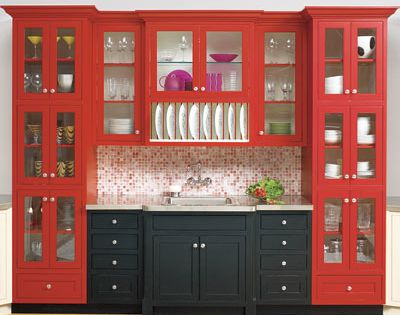 Red cabinets, with pop of black.