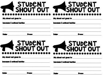 Student Shout Out Slips Student Recognition Ideas School Communication Student Behavior