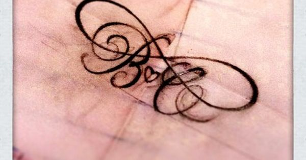 Tattoo design infinite love with kids initials