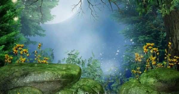 Scenic Backdrop Fairy Tale Wood Tree Secrete Garden
