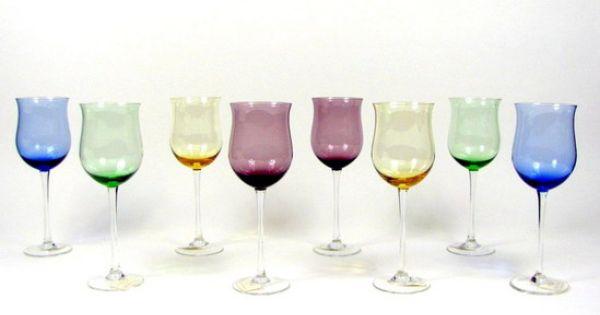 Tulip wine glasses lenox crystal assorted color gems tulip wine glasses goblets ebay - Lenox colored wine glasses ...