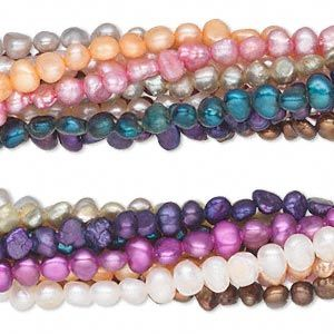 Pearl Mix Cultured Freshwater Dyed Mixed Colors 3 4mm Flat Sided Potato D Grade Mohs Hardness 2 1 2 To 4 Sol Color Mixing Pearls Freshwater Pearl Beads