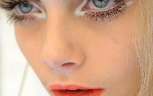 White Eye Shadow and Coral Lips