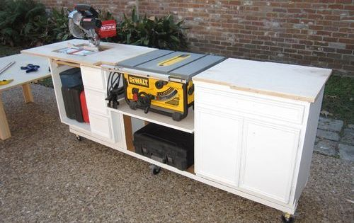 Portable Miter Saw Table Made From Kitchen Cabinets