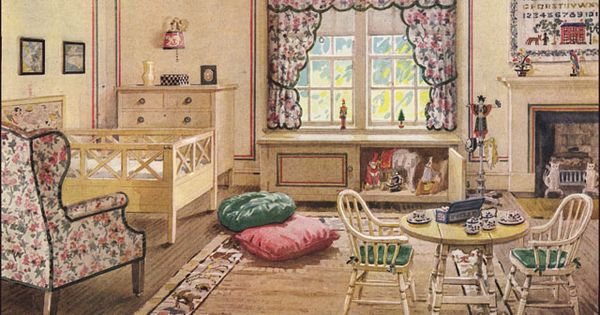 Kinderen slaapkamer, Vintage slaapkamer decor and 1920s on Pinterest