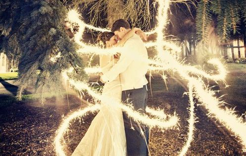 It's a long exposure shot with sparklers. All they had to do
