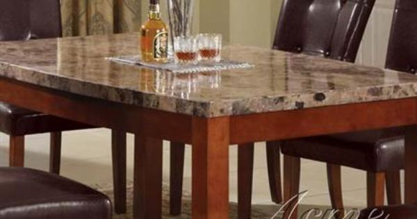 Danville Brown Marble Stone Wood Marble Top Table Dining Table