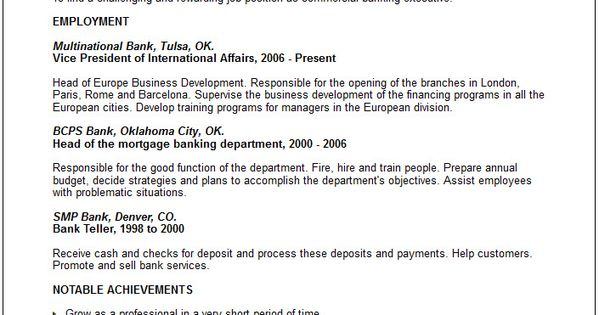 Bank Executive Resume Examples. Top 10 Resume Objective